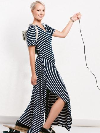 Платье в пол с рукавами реглан