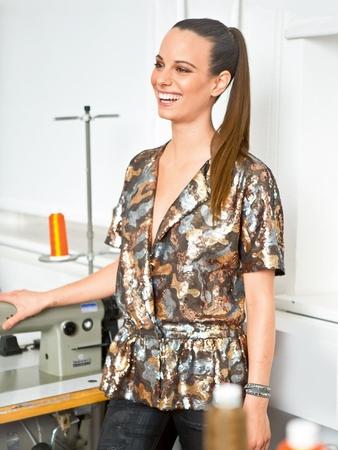 Блузка с короткими рукавами кимоно