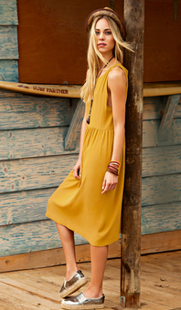 Платье без рукавов с присборенной юбкой