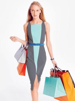 Платье-футляр со вставками