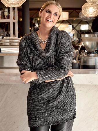 Пуловер с воротником-хомут
