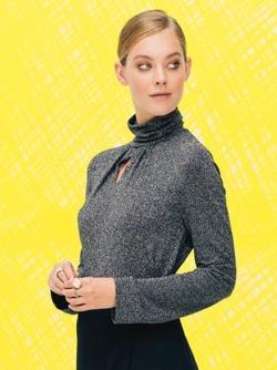Пуловер с высоким воротником-стойкой
