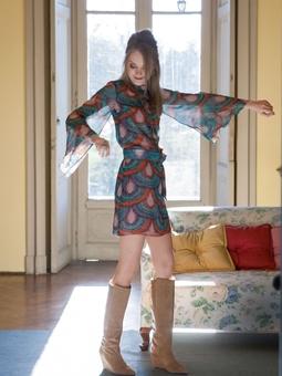 Платье-мини с рукавами-раструбами