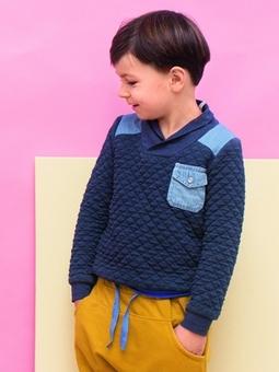 Пуловер с воротником-шалькой