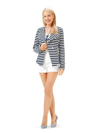Жакет без воротника в морском стиле