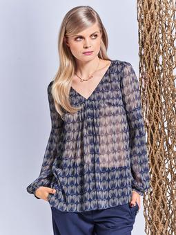 Блузка со складками спереди и на рукавах