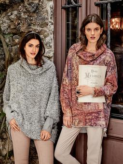 Пуловер с цельнокроеным воротником