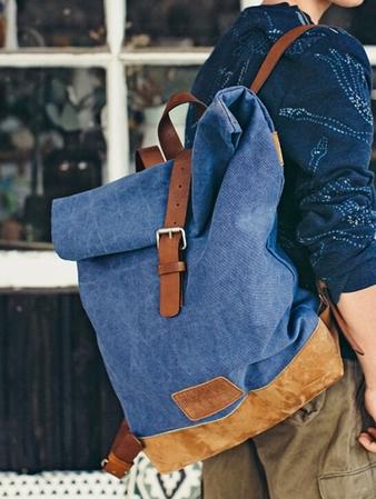 Рюкзак из денима и замши