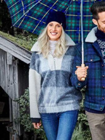 Пуловер с плюшевым воротником