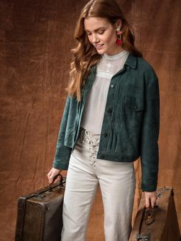 Замшевая куртка в джинсовом стиле