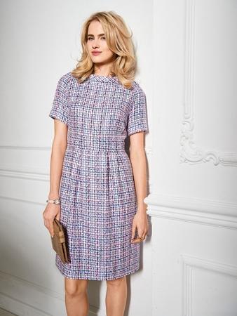 Твидовое платье с рукавами реглан
