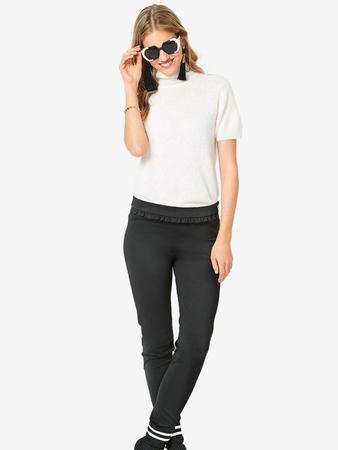 Узкие  брюки с оборкой