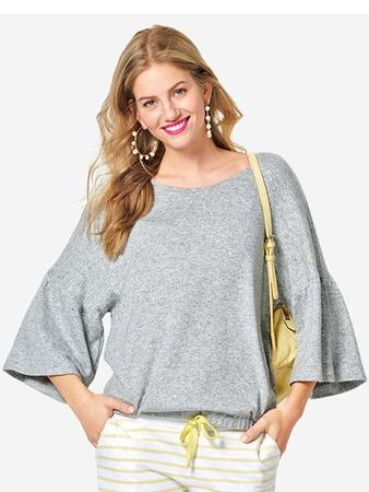 Пуловер с рукавами оборками