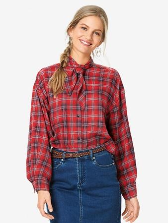 Рубашка с завязывающимся воротником