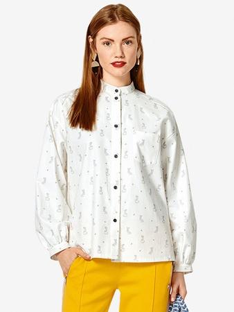 Блузка-рубашка с воротником-стойкой