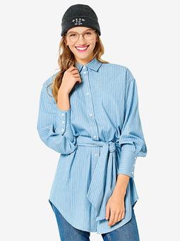 Длинная блузка рубашечного кроя