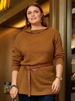 Пуловер с асимметричным воротником