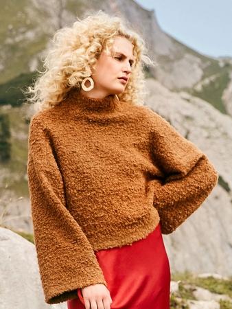 Пуловер с цельнокроеным воротником-стойкой