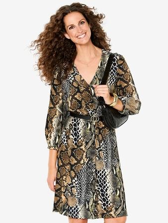 Платье-рубашка с V-вырезом