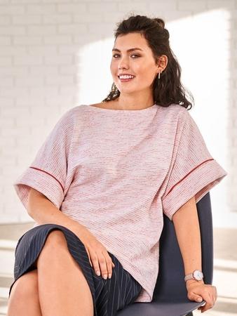 Пуловер с асимметричным низом
