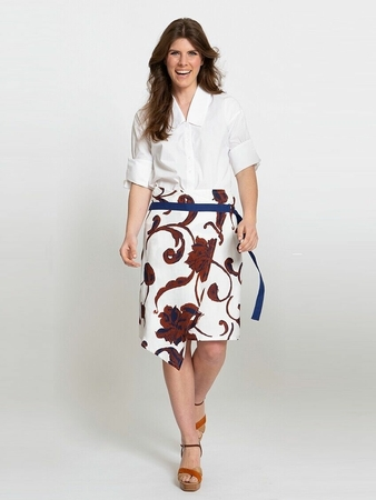 Асимметричная юбка с запахом вид спереди