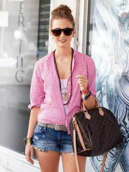 Блузка с воротничком-стойкой