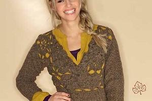 Пуловер с узорным верхом