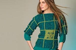 Укороченный пуловер из мотивов