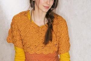 Пуловер с цельновязанными рукавами