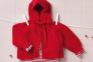 Красная кофточка с капюшоном для малыша