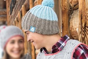 Мужская двухцветная шапка