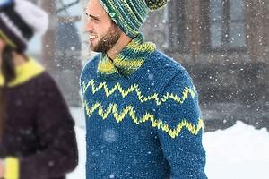 Мужской пуловер с шалевым воротником