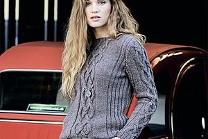 Джемпер с полосами арановых узоров