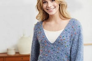 Пуловер с бусинами