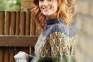 Удлиненный свитер с узором «Листья»