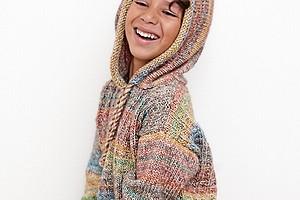 Детский свободный пуловер с капюшоном