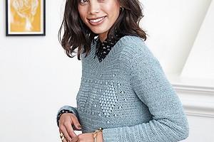 Пуловер с ромбами из «шишечек»