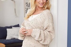 Меланжевый пуловер в резинку