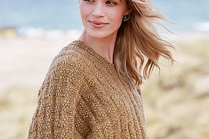 Цельновязаный пуловер с рельефным узором