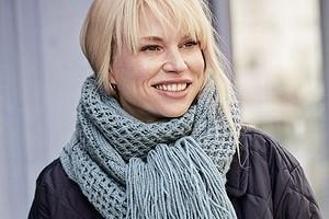 Длинный шарф с сочетанием узоров