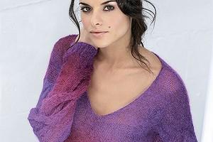 Пуловер с «косами» на рукавах