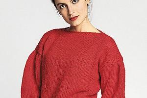 Красный джемпер с рукавами-буф