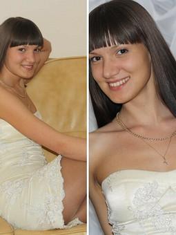Работа с названием кремовое платье, вышитое бисером