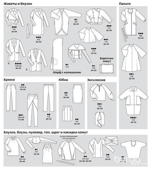 Все технические рисунки моделей изжурнала ВURDA 11/2013