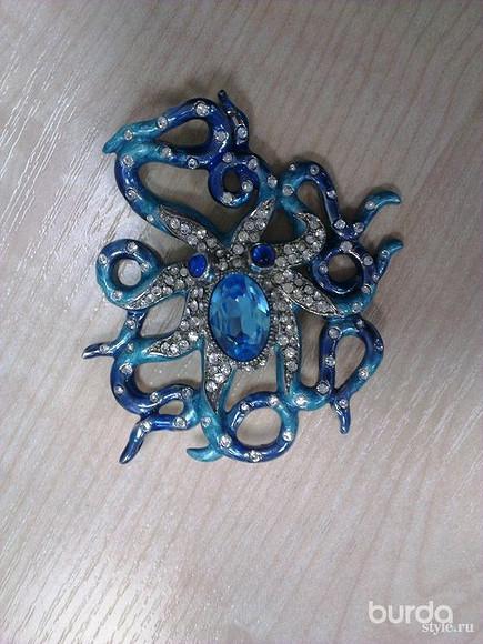Брошь «Голубой Осьминог»