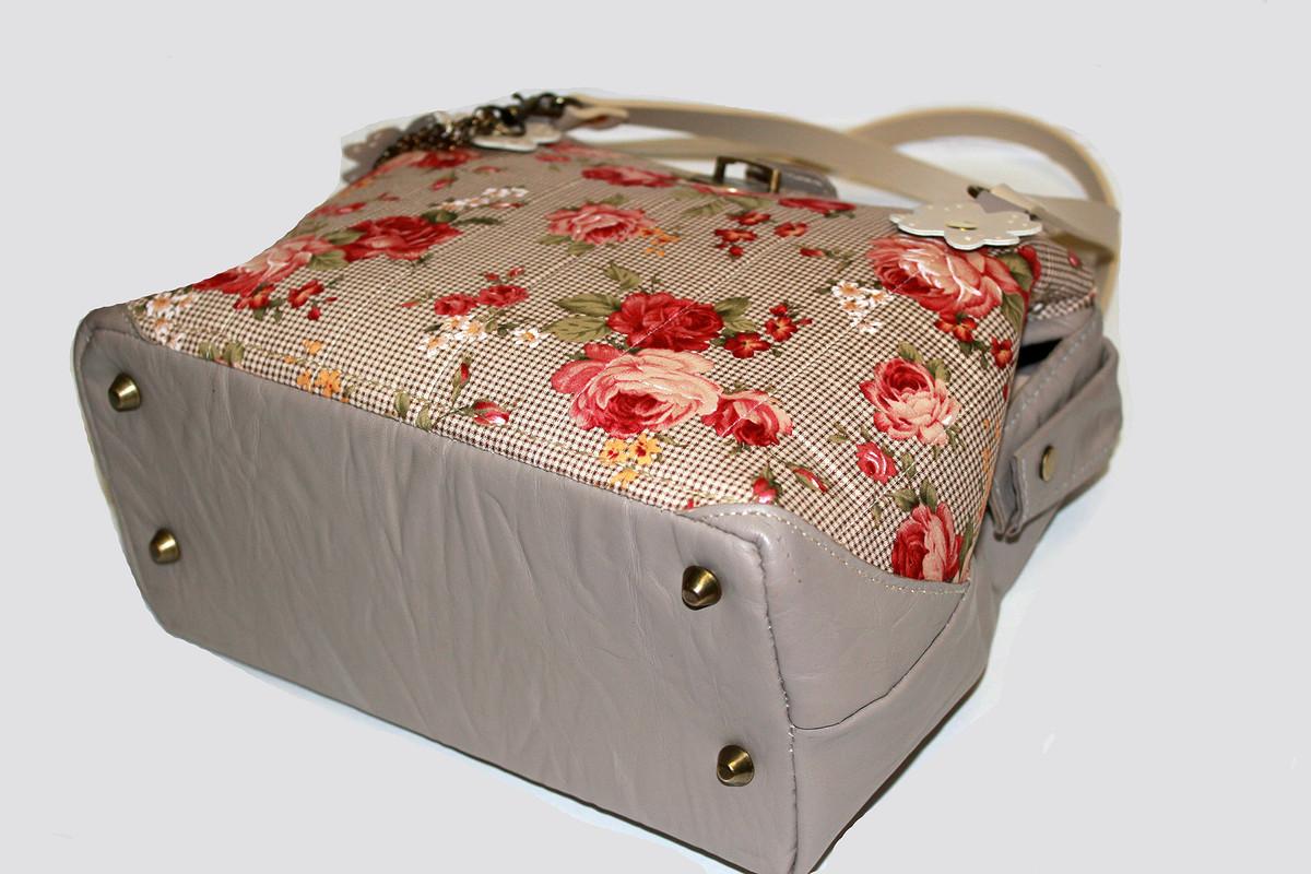 Саквояж кожаный «Roses on beige»