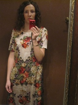 Работа с названием платье с имитацией вышивки и кружева