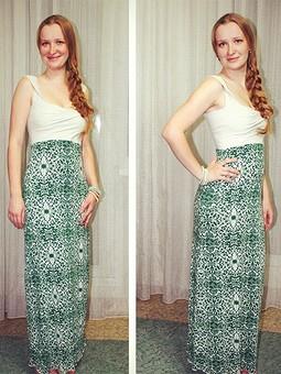 Работа с названием Длинное трикотажное платье-сарафан