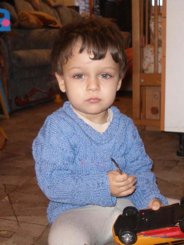 Серо-голубой узорчатый пуловер дляСережки:-) от Maleki
