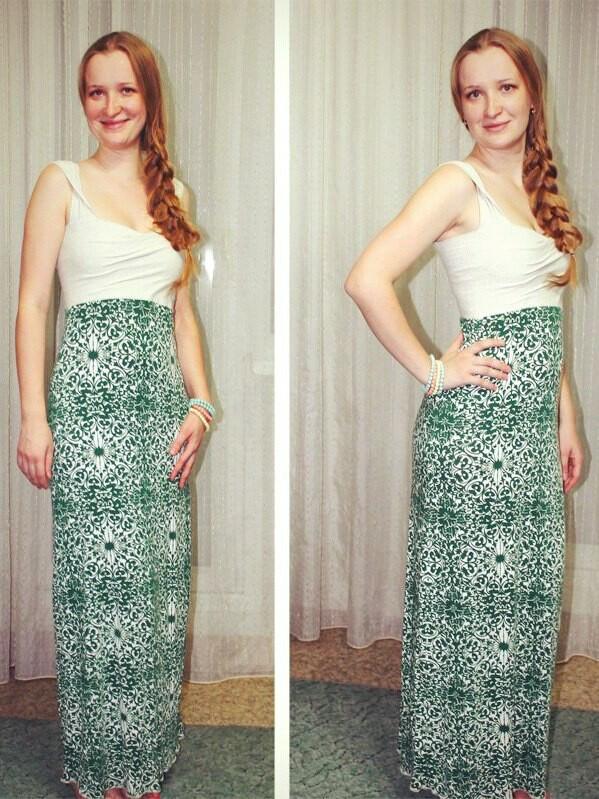 Длинное трикотажное платье-сарафан